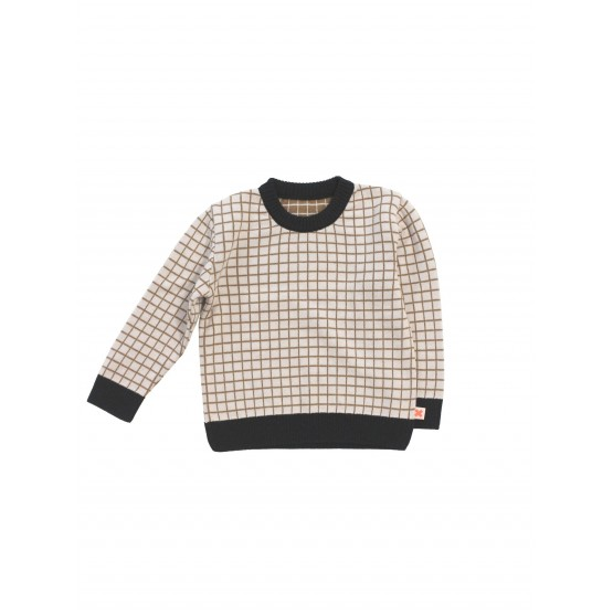 grid sweater knit - beige